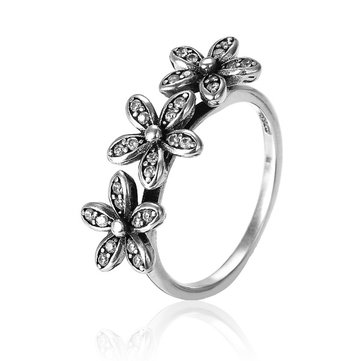 Vintage 925 Sterling Silver Three Flowers Crystal Ring Women Jewelry