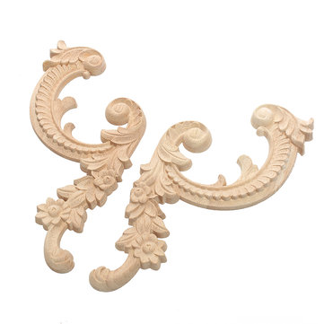 Wood Carving Applique Unpainted Flower Onlay Decal Furniture Cabinet Door Decor Wood Carving