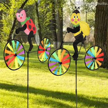 Bee Ladybug on Bike Windmill Toy DIY Animal Wind Spinner Whirligig Garden Lawn Camp Decor