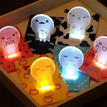 Folding Card Lamp Cute LED Light Cartoon Pocket Bulb Wallet Card Gift Greeting Cards