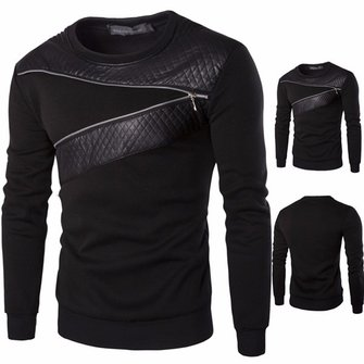 Mens Casual Splicing O-neck Collar Sweatshirt Black Long Sleeve Pullover Sweatshirt