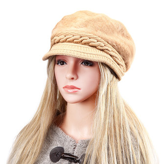 Women Ladies Knitted Beanie Crochet Thicken Fur Baseball Cap Knitting Elastic Baggy Hat