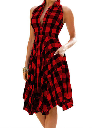 Women Loose Retro Plaid Lapel Button High Low Shirts Dress