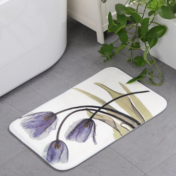 Memory Foam Chronic Rebound 3D Printing Lotus Absorbent Non-slip Mat Lotus Flowers Pattern Home Children's Room Floor Cushion Kitchen Area Rugs Bathroom Carpets