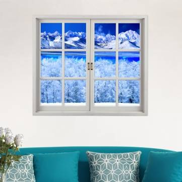 Snow Mountain 3D Artificial Window View PAG Wall Decals Lake View Room Stickers Home Wall Decor Gift