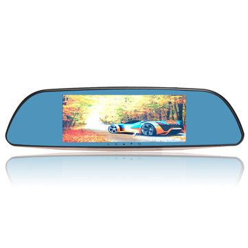 HD 1080P 7 Inch Dual Len Car Rear View Mirror DVR Dash Camera Recorder GPS Navigator