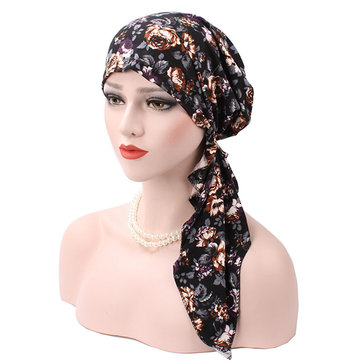 Women Flower Printing Muslim Cotton Turban Cap
