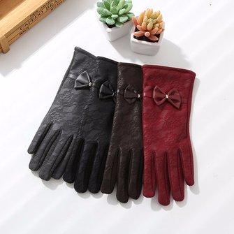 Femmes dames écran tactile pu gants en cuir dentelle mesh tissu papillon gants velours chaud