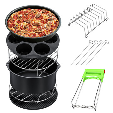 8Pcs 8 Inch Air Fryer Accessories Set Chips Dish Baking Pizza Pan Kitchen Toolss 5.2~5.8QT