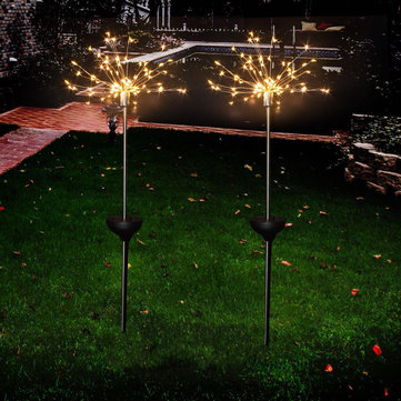 LUSTREON Solar Powered Warm White 90 LED Firework Starburst Landscape Lawn Light for Outdoor Garden