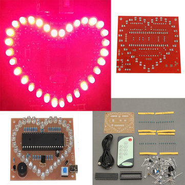 51 SCM Pink LED Light Love Heart Shape DIY Kit