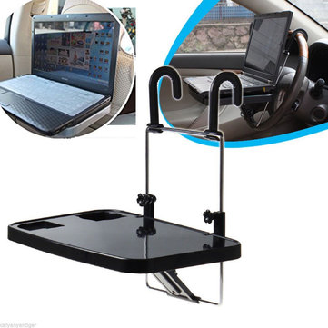 Car Laptop Desk Computer Fold Down Steel Ring Wheel Work Foldable Cup Holder Stand