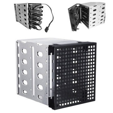 "5.25"" to 5x 3.5"" SATA SAS HDD Cage Rack Hard Drive Tray Caddy Converter with Fan Space"