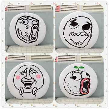 Creative Funny Expression Rage Comic Round Throw Pillow Plush Bed Sofa Car Cushion