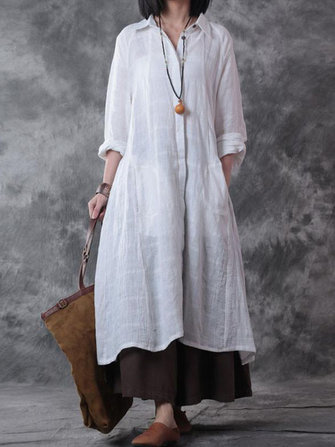 Casual Women Button Down Turn-Down Collar Long Sleeve Shirt Dress