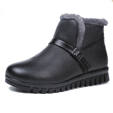Winter Fur Warm Leather Slip On Snow Boots