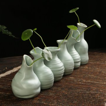 6 Patterns Ceramic Vase Ornament Handmade Flower Arrangement Pottery Flambe Glazed Decor Green