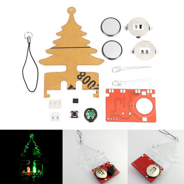 DIY Electronic Music Flash Tree Kit Battery Power LED Flashes Creative Tree Soldering Practice Board