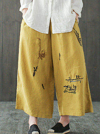 Embroidery Elastic Waist Wide Leg Pants