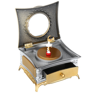 Classical Rotating Girl Music Box Jewelry Storage Make up Mirror Dresser Case