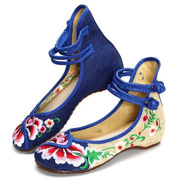 Цветочный вышивка китайский узел национального ветра кружева вверх плоские туфли