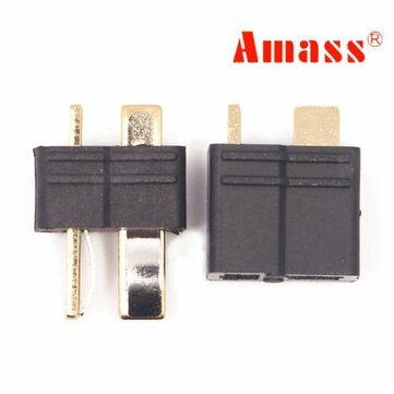 Amass AM-1015B Anti-Slip Black T Plug Connector Male & Female 1 Pair