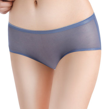 Mid Waist Transparent Mesh Seam Free Breathable Panties