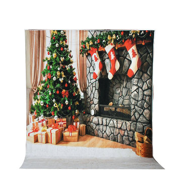 8x10FT Stone Fireplace Christmas Tree Photo Studio Background Backdrop Vinyl