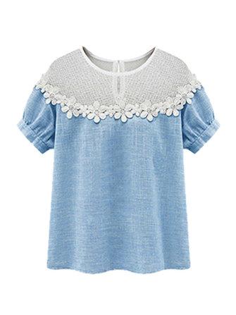 Sexy Women Summer Lace Hollow Patchwork Cotton Linen T-shirt