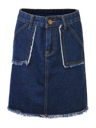 Women Casual High Waist A-Line Denim Short Skirt