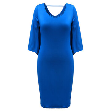 Elegant Women Butterfly Backless Bodycon Party Cape Pencil Dress
