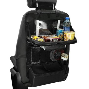 Leather Car Seat Back Storage Bag Organizer Food Drink Holder for Pinic Travel Outdoors