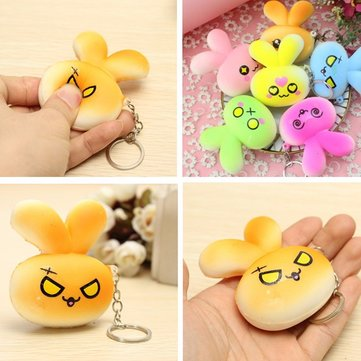 Squishy Rabbit Bunny Face Cute Evil Love Random Color Emoji Key Chain Phone Bag Strap Decor Gift