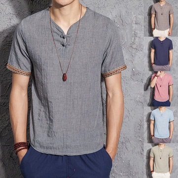 Mens Cotton Linen Chinese Style Retro Solid Color Summer Archaic Shirts