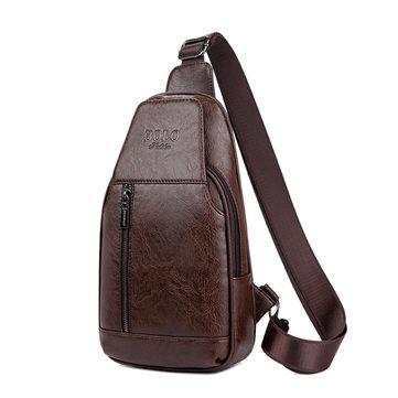 الرجالجلدطبيعيمتعددةالوظائفالصدر حقيبة الترفيه الرياضة في الهواء الطلق حقيبة كروسبودي حقيبة الكتف