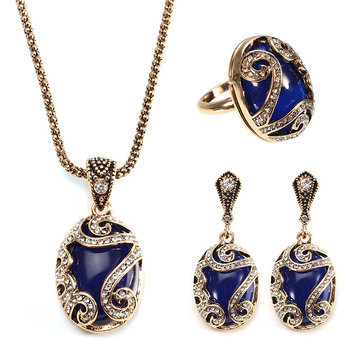 JASSY® Vintage Gold Earrings Natural Blue Stone Necklace Crystal Ring Gift For Women
