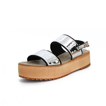 US Size 5-12 Women Summer Shiny Korean Style Buckle Paillette Platform Peep Toe Roman Sandals