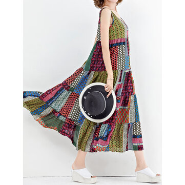 Women Bohemian Sleeveless Patchwork O-Neck Maxi Tank Dress