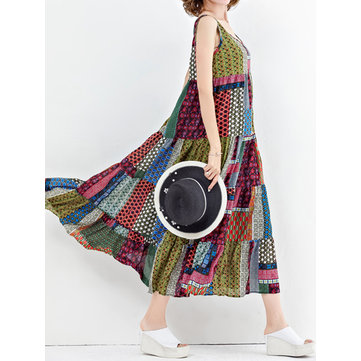 M-5XL Bohemian Patchwork Tank Dress