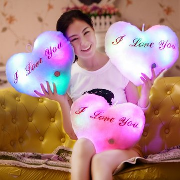 Plush Colorful LED Light Music Heart Shape Throw Pillow Home Sofa Decor Festival Birthday Gift
