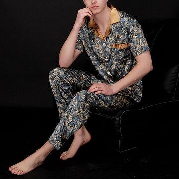Mens Casual Imitation Silk Home Sleepwear Sets Printing Short Sleeve Long Pants Pajamas