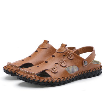 Men's Outdoor Daily Casual Sandals Wrapped Toe Leather Hand-sewn 3-fold Reinforced Suture Shoes