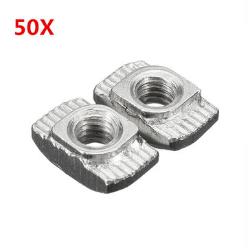 Suleve™ M4TN20 Carbon Steel M4-20 Thread Sliding T-Nuts Screw 10x6x4.3mm 50pcs