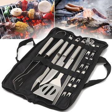 IPRee® 18 In 1 Stainless Steel Utensil Grill Set Outdoor Picnic BBQ Cooking Tools