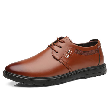 Men Casual Business Round Toe Comfy Leather Oxfords