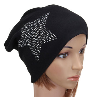 Women Ladies Cotton Winter Warm Ski Slouch Hats Star Ladies Baggy Cap