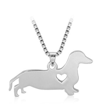 Silver Love Dog Heart Pendant Charm Women Necklace Chain