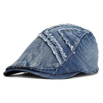 Hommes Été Cotton Washed Cowboy Beret Hat Casual Outdoor Visor Jeans Chapeaux