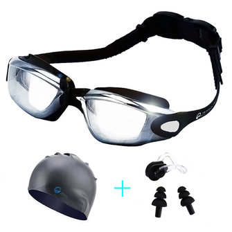 Men Women Swimming Goggles With Hat Ear Plug Waterproof Swim Glasses Anti Fog Eyewear Suit