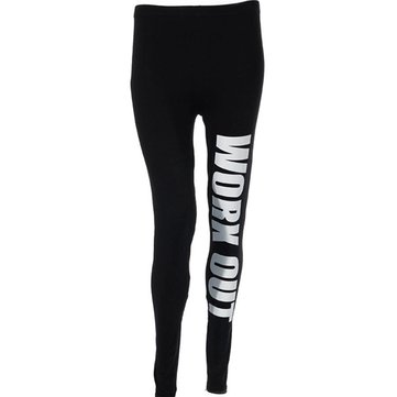 Athleisure Letter Printed Yoga Running Sport Workout Pant High Waist Cropped Legging Fitness